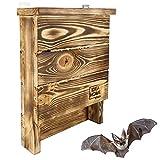 LEVIATAN Chiroptera - Caja para murciélagos de Madera Maciza, ya montada, Resistente a la Intemperie, sin Tratar, casa de murciélagos y Nido para murciélagos Tanto de Verano como de Invierno