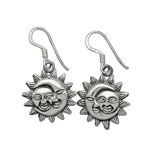 Beldiamo Pendientes colgantes de plata de ley de 4 g, diseño de sol y luna celestial