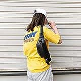 Casa & Giardino Moda Tinta Unita Lettera A PU Single Shoulder Bag Zipper Messenger Bag Casual Tasche Petto Petto della Vita (Nero) Casa & Giardino (Colore : Black)