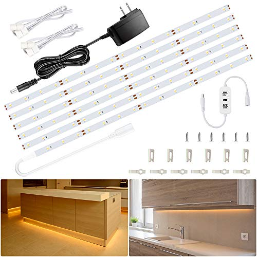 Ustellar 20ft LED Under Cabinet Lighting Kit, 1800lm Dimmable Light Strip, Hand Wave Activated Under Counter Lights for Kitchen Cabinet, Counter, Shelf- ETL Listed, 360 LEDs 3000K Warm White