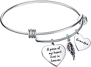Elegant Chef Grandpa Memorial Bangle Bracelet- A Piece of My Heart Lives in Heaven- Remembrance Sympathy Gift