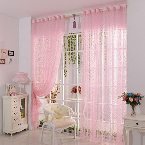 DDLBiZ Vorhang Druck-Blumen-Voile-Tür-Vorhang Fenster Paravent Schal Vorhang (Pink)