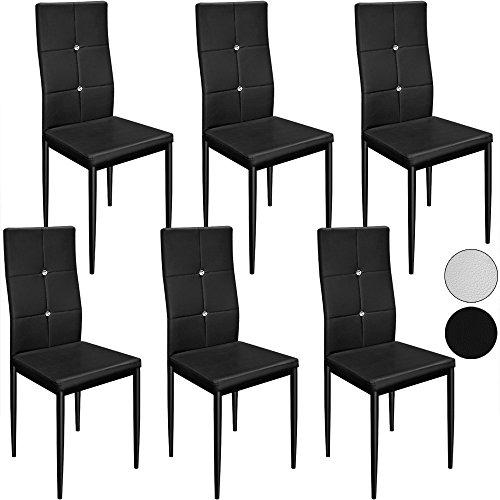 Deuba 6X Esszimmerstühle Stuhl Hochlehner Polsterstuhl Sitzgruppe Essgruppe Esszimmerstuhl schwarz