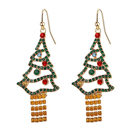 Flyonce Crystal Colorful Christmas Tree Earrings for Women Tassel Hook Dangle Drop for Xmas