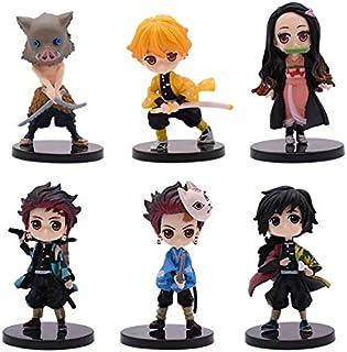 Alpurple Juego de 6 piezas Demon Slayer: Kimetsu no Yaiba Petit PVC figuras de acción juguetes colectivos muñecas con soportes