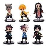 Alpurple Set of 6 Pieces Demon Slayer: Kimetsu no Yaiba Petit PVC Action Figures Toys Collective Dolls with Stands