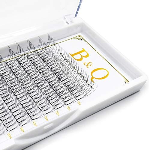 Volume russe Préfait Sabre de fans Extensions 3D 0.10 D curl 10mm Individuel Cluster Short Stem Lashes 12 Rows/Tray C/D Curl 0.07/0.10 Épaisseur