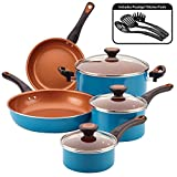 Farberware Glide Dishwasher Safe Nonstick Cookware Pots and Pans Set, 11 Piece, Teal