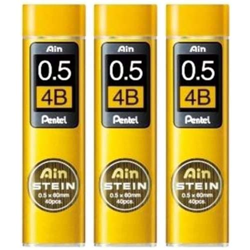 [3 set!!!] Pentel Mechanical pencil core replacement Ain Stein 0.5mm 4B 40leads�3 C275-4B from Japan