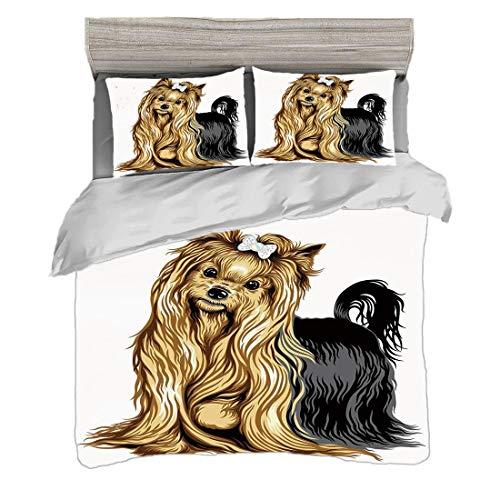Bettwäscheset (200 x 200 cm) mit 2 Kissenbezügen Yorkie Digitaldruck Bettwäsche Realistische Zeichnung Langhaarige Yorkie Haustier Netter Hund mit Milder Ausdruck, Senf Schwarz Pflegeleicht antiallerg