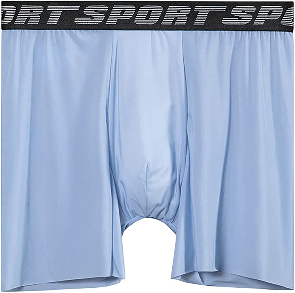 GBIUN Men's Boxer Briefs Large Size Anti-Wear Leg Ice Silk Seamless Panties Pack of 4
