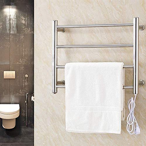 Toallero Eléctrico Bajo Consumo Calentador de toalla eléctrica, Montado en la pared 4 Barras de curvas Cepilladas Acero inoxidable Eficiente de energía 58W Enchufe eléctrico en estante de toalla calen