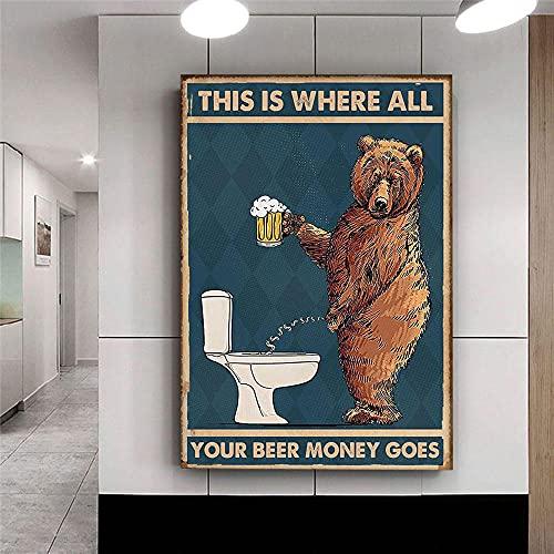 LTXMZ GruñóN Oso Beber Cerveza para Cuarto De BañO Poster Gracioso Animal Pared Arte Cuadros para