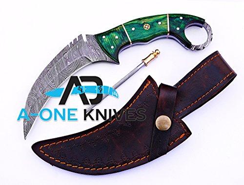 "Green Pakka Wood 8.75'' Fixed Blade Custom Handmade Damascus Steel Karambit Hunting Knife 100% Prime Quality Plus Best Quality Gift Blade Sharpener ""LIMITED OFFER"""