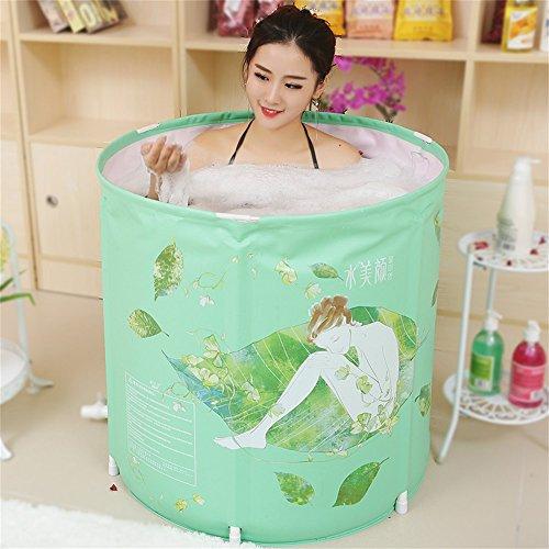 AINUO Bathtub Zusammenklappbar Badewanne Tragbar Non-Inflatable Badewanne Barrel Erwachsene Bidet Dicker Kunststoff Baden Becken Baby 's Schwimmbad mit Kissen, 70cm*70cm