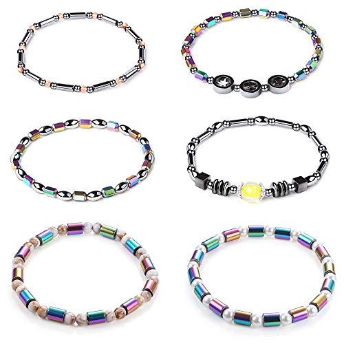 Thunaraz 4PCS Hematite Stone Ankle Magnetic Bracelet for Women (6Pcs)
