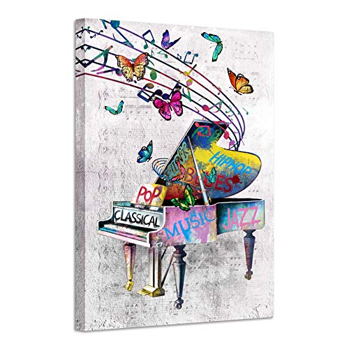 sechars Vintage Music Wall Art Retro Piano Painting Art Print on Canvas Graffiti Pop Art Music Notes and Butterfly Poster with Inner Wood Frame for Classroom Living Room Bedroom Decoration 24x36inch