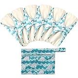 6 Stück Slipeinlagen Waschbar aus Bambusfaser, Waschbare Stoffbinden, Wiederverwendbare Binden, mit 1 Tragbare Mini Tasche Wiederverwendbare (Mittel- 25cm /10 inch, Wal 1)