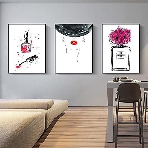 zuomo Póster de Arte de Pared de Moda Perfume Labios Maquillaje Lienzo Pintura Cuadros Abstractos de niña para Sala de Estar Moderna decoración del hogar 50x70cm sin Marco
