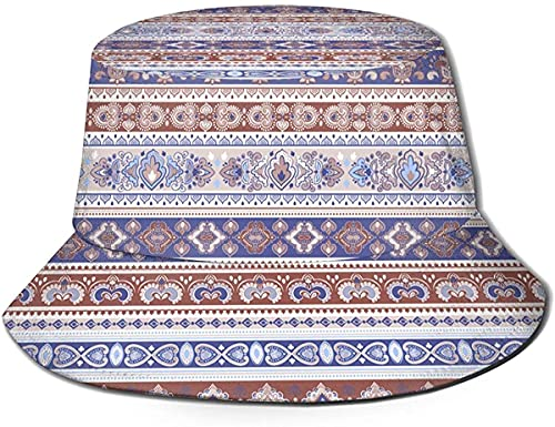 Ornament Unisex Bucket Hat, Reversible Fisherman Hat Plant Printed Solid Color Outdoor Sun Hat Packable, Bucket Hat Fisherman Hats
