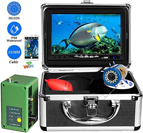 SCYDAO Unterwasserfischen-Kamera, 7-Zoll-Touch-Screen-DVR WiFi 1080P Eisfischen Kamera 1000TVL 30 LED-Leuchten 15 / 30M Kabel Portable Video Fischfinder, Für EIS, See, Meer, Boot Angeln,15m Cable WF