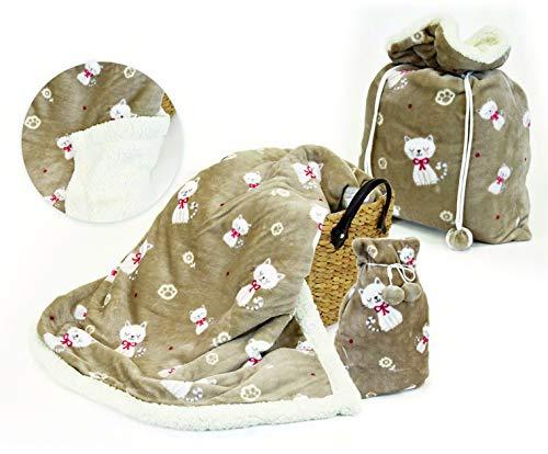 Daunex Warme Decke für den Winter, weiches Lammfell, 130 x 160 cm, Inhalt in praktischer Geschenktasche (Felix Taupe)