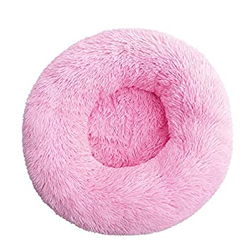 BVAGSS Panier Chat Lit Panier pour Animal Domestique pour Chats et Petits Chiens Coussin pour lit de Chat Lit Donut Chien Convient XH034 (Diameter:80cm, Pink)