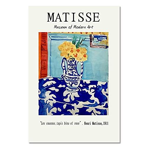 Impresión de póster retro Vintage Henry Matisse, obra de arte abstracta, pintura de arte de pared, sala de estar, lienzo sin marco, pintura A6 60x90cm