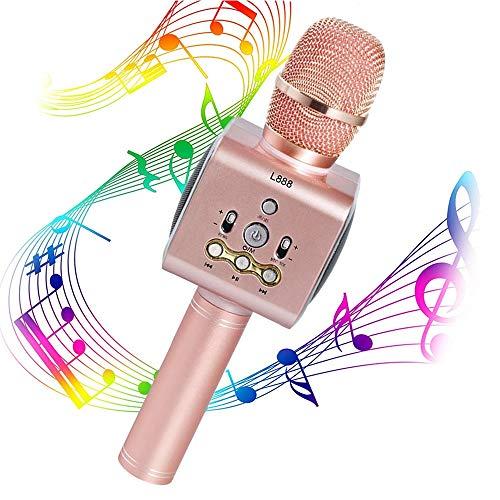 LEEFISH Inalámbrico Micrófono Karaoke Bluetooth Micrófono De Mano, Jugador, Luces Led Sonido Magico Inicio KTV Cantando En Cualquier Momento Partido Compatible con Android/iOS, PC Y App