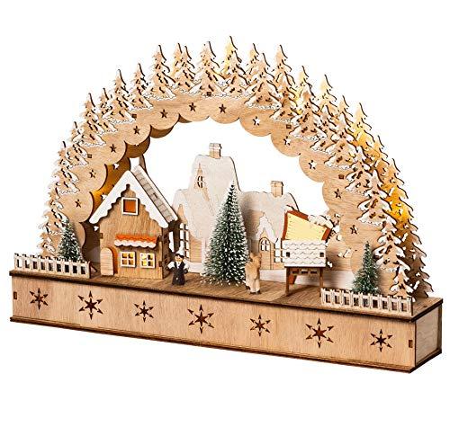 Wichtelstube-Kollektion LED Schwibbogen, Lichterbogen Weihnachten mit Timer, Echtholz, Winterdorf