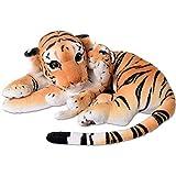 TE-Trend 2in1 XL Plüsch Tiger Tigerbaby Raubkatze Kuscheltier Großkatze liegend 60cm Stofftier braun getigert