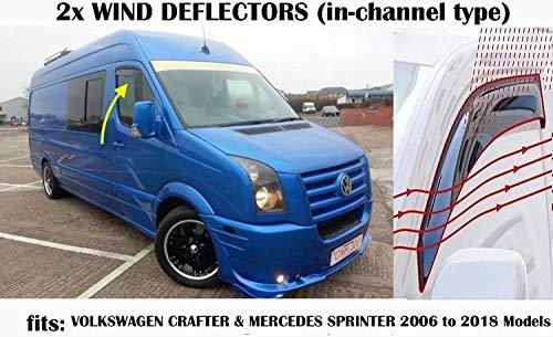 OEMM 2er-Set Windabweiser im Kanal-Typ, kompatibel mit VW Crafter & Mercedes Sprinter Paneel Van Mini 2006 bis 2018 Modelle Seitenblenden Fensterabweiser