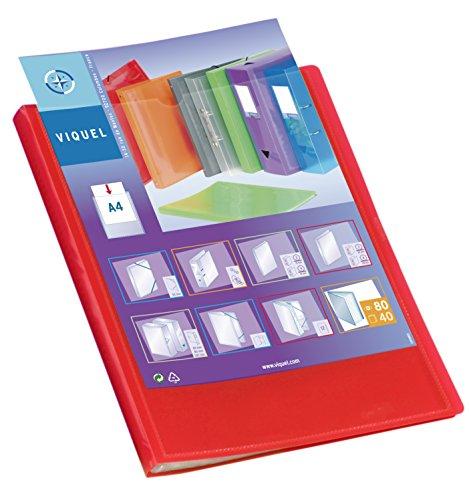 Viquel - Protège documents personnalisable - Reliure Format A4 - Porte vues 80 Vues (40 pochettes) - Fabriqué en France - Pochettes qualité supérieure - Rouge translucide