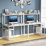 Tribesigns 94.5 inches White Computer Desk with Hutch, Extra Long Two Person Desk with Storage Shelves, Double Workstation Office Desk Table Study Writing Desk for Home Office, (White)