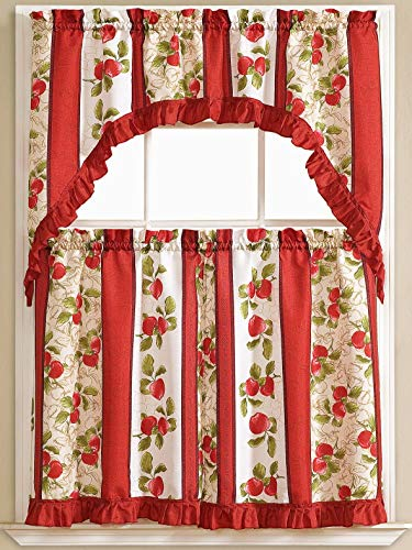 Golden Rugs Red Apple 3pc Kitchen Curtain and Valance Set/1 Swag Valance and 2 Tiers,2 Tiers Width 30'x 36' Each and The Valance Length 60'x36'