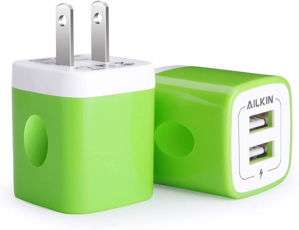 USB Wall Charger, [2-Pack] 2.1A AILKIN 2-Port USB Phone Charger Block Plug Power Adapter Charging Base for iPhone 13 12 Mini 12Pro Max SE 11 XS XR X 8 Plus, Moto G9 G8 Plus, Google Pixel 6 pro 5a