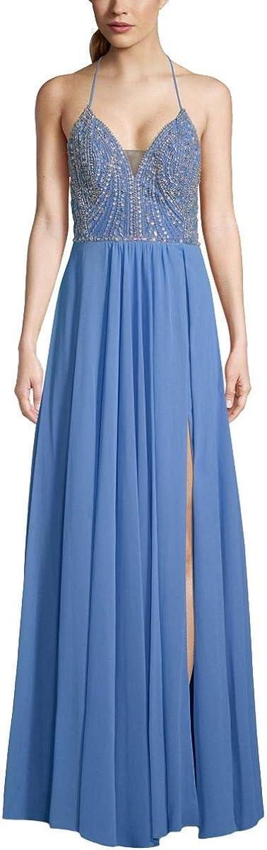 BETSY & ADAM Women's Beaded Bodice Strappy-back Slit Gown Dress