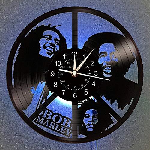 BFMBCHDJ Vinyl Record Wall Clock LED Quartz Clock Home Decor Clock Unique Cartoon Gift 7 Color Luminous Wall Clock No LED 12 Inches