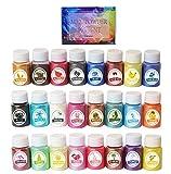 SOULBEST Epoxidharz Farbe Mica Pulver - 240g(24er×10g) Pigmente Pulver, Metallic Farben Schimmern...