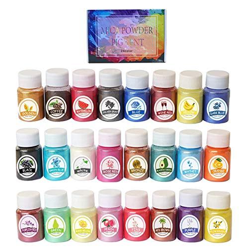 SOULBEST Epoxidharz Farbe Mica Pulver - 240g(24er×10g) Pigmente Pulver, Metallic Farben Schimmern Sie Glitter Powder Farbpulver für Seife Badebombe Kerze Kosmetischer Lidschatten Schleim Malerei DIY