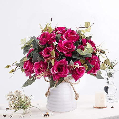 LESING Flores artificiales en jarrón de seda con rosas artificiales para decoración de mesa de comedor, mesa de cocina, color rojo rosa