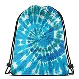 Bule Spiral Tie Dye Drawstring Backpack Bag, Cinch Sack, Waterproof Sport Gym Bag Casual Daypack for Women Men