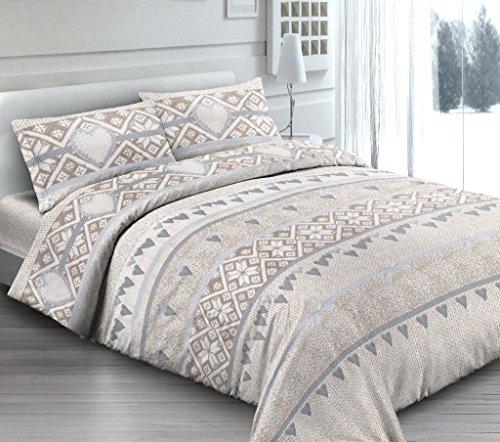 Housse de couette avec taies d'oreiller pour lit Double – Rêve romantique – Coeurs Beige Taupe Petit Coeur – Y Compris Sous en uni de couleur beige – en Coton Fabriqué en Italie
