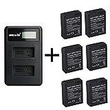 6 Piezas 1600mAh para GoPro AHDBT-201/301 batería de la cámara con Cargador de batería Dual para Gopro Hero 3 3+ AHDBT-301, batería AHDBT-201 (6 pcs Battery with Charger)