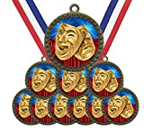 Large 2-1/2 inch Diameter Metal Antique Gold Drama Acting Actor Actress Medals Star Award Trophy Champion Winner with Red White and Blue Neck Ribbons (Pack of 10)
