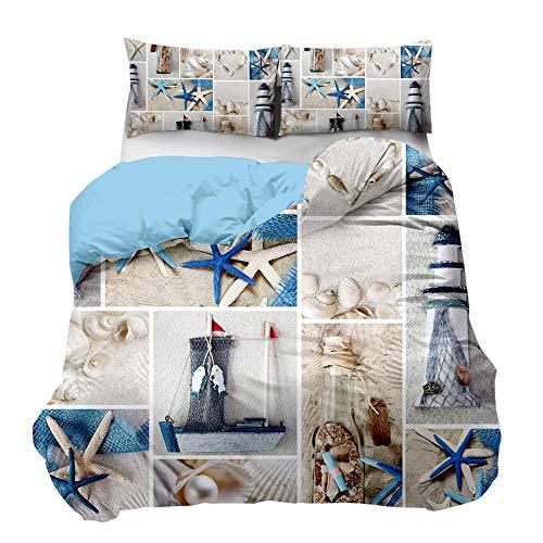 Feelyou Kids Duvet Cover Set Twin for Boys Girls Beach Themed Bedding Set Ocean Starfish Seashell Lighthouse Print Microfiber Comforter Cover with 1 Pillowcase, Zipper, Sea Navigation 2 Pcs