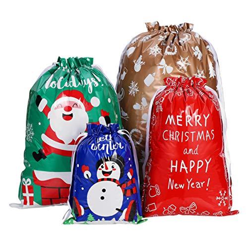 ABOOFAN Christmas Drawstring Gift Bags Bulk 30 Pcs Assorted Styles Holiday Drawstring Goody Bags Xmas Treat Gift Bags for Christmas Holiday Party Supplies