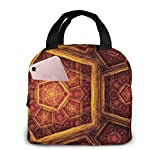 TTmom Abstract Artistic Design Digital Digital Art Fractal Geometry Portable Insulated Lunch Bag Big Capacity Lunch Cooler Tote Bag for for Work School Travel Lunch Box with Front Pocket