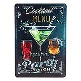 GARNECK Cartel de Chapa de Metal Vintage Menú de Cóctel Cartel de Bar Retro Cartel de Pared Decorativo Placa de Hierro Decoración de Arte de Pared para Bar Restaurante Cóctel