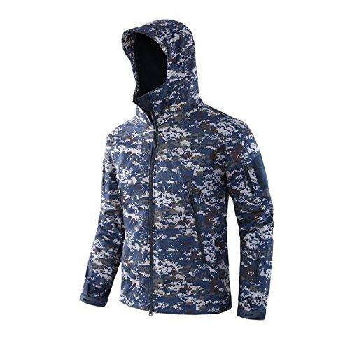 Joytea Veste imperméable à manches longues en softshell pour homme Motif camouflage, Camouflage Océan, XXXL